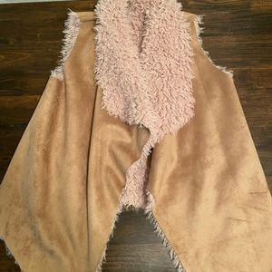 NWT faux suede and faux fur vest